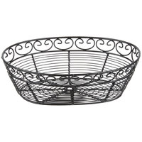 Tablecraft BK27410 Mediterranean Oval Black Metal Basket - 10 inch x 6 1/2 inch x 3 inch