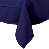 54 inch x 120 inch Navy Blue Hemmed Polyspun Cloth Table Cover