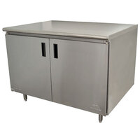 Advance Tabco HB-SS-365 36 inch x 60 inch 14 Gauge Enclosed Base Stainless Steel Work Table with Hinged Doors