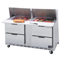 Beverage-Air SPED60-24M-4 60 inch Mega Top Four Drawer Refrigerated Salad / Sandwich Prep Table