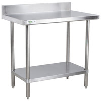 Regency 16 Gauge All Stainless Steel Commercial Work Table - 24 inch x 36 inch with Undershelf and 4 inch Backsplash