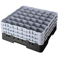 Cambro 36S638110 Black Camrack 36 Compartment 6 7/8 inch Glass Rack