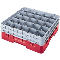 Cambro 25S1214163 Camrack 12 5/8 inch High Red 25 Compartment Glass Rack