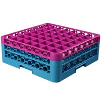 Carlisle RG49-2C414 OptiClean 49 Compartment Glass Rack with 2 Color-Coded Extenders - Lavender / Carlisle Blue