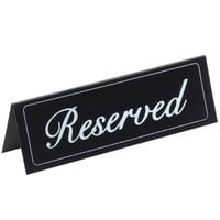 Cal-Mil 283 9 1/4 inch x 3 inch Black Double-Sided Vinyl Reserved Sign