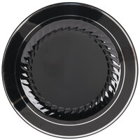 Fineline Silver Splendor 509-BKS Black 9 inch Plastic Plate with Silver Bands - 120 / Case