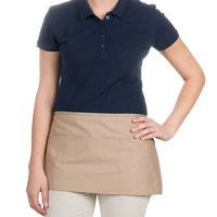Choice 12 inch x 24 inch Khaki Front of the House Waist Apron
