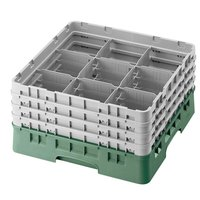 Cambro 9S800119 Sherwood Green Camrack 9 Compartment 8 1/2 inch Glass Rack