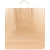 Duro Cargo Natural Kraft Paper Shopping Bag with Handles 18 inch x 7 inch x 18 3/4 inch - 200 / Case