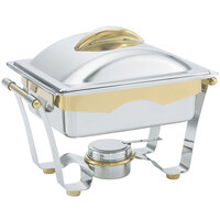 Vollrath 48329 4.1 qt. Panacea Rectangular Chafer Half Size with Gold Accents