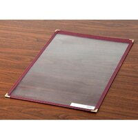 8 1/2 inch x 14 inch Single Pocket Menu Cover - Burgundy