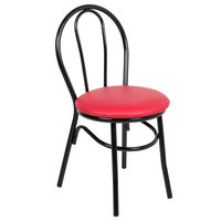 Lancaster Table & Seating Red Hairpin Cafe Chair with 1 1/4 inch Padded Seat