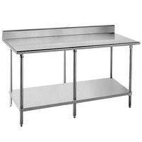 16 Gauge Advance Tabco KAG-3612 36 inch x 144 inch Stainless Steel Commercial Work Table with 5 inch Backsplash and Undershelf