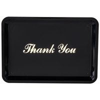 6 1/2 inch x 4 1/2 inch Black and Gold Thank You Tip Tray