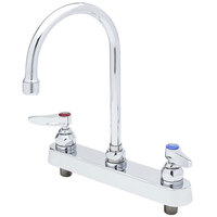 T&S B-1142 Deck Mounted Workboard Faucet with 8 inch Centers - 11 3/8 inch High Swivel Gooseneck with 5 3/4 inch Spread