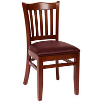 BFM Seating LWC7218MHBUV Princeton Mahogany Beechwood School House Side Chair with 2 inch Burgundy Vinyl Seat