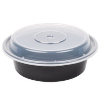 Newspring NC-718-B 16 oz. Black 6 inch VERSAtainer Round Microwavable Container with Lid   - 150/Case