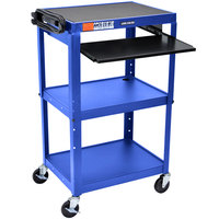 Luxor AVJ42KB-RB Blue Mobile Computer Cart / Workstation 24 inch x 18 inch with Keyboard Shelf