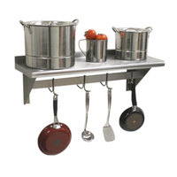 Advance Tabco PS-12-132 Stainless Steel Wall Shelf with Pot Rack - 12 inch x 132 inch