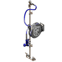 T&S B-1439 50' Open Stainless Steel Hose Reel Assembly with Exposed Piping and Accessories