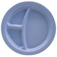 Carlisle PCD22059 Slate Blue Narrow Rim 3-Compartment 9 inch Polycarbonate Plate 48 / Case
