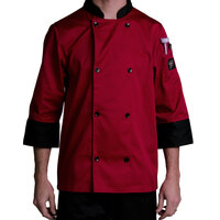 Chef Revival J134TM-S Cool Crew Fresh Size 36 (S) Tomato Red Customizable Chef Jacket with 3/4 Sleeves - Poly-Cotton
