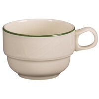 Homer Laughlin Lydia Green 7.75 oz. Off White China Tea Cup - 36 / Case