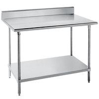 Advance Tabco KLG-240 24 inch x 30 inch 14 Gauge Work Table with Galvanized Undershelf and 5 inch Backsplash