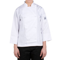 Chef Revival LJ028-L Knife and Steel Size 12 (L) White Customizable Ladies Long Sleeve Chef Jacket - Poly-Cotton Blend with Cloth Knot Buttons