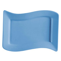 CAC SOH-14LB Color Soho 13 1/2 inch x 8 7/8 inch Light Blue Rectangular Stoneware Platter - 12 / Case