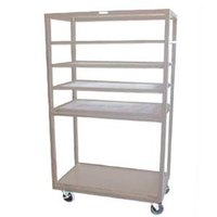 Win-Holt DR-2443 Tan 43 inch x 24 inch Merchandiser Rack with Four Flat Shelves and Flat Bottom Shelf