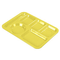 Carlisle 4398004 10 inch x 14 inch Yellow Heavy Weight Melamine Left Hand 6 Compartment Tray