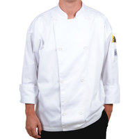 Chef Revival J002-XS Knife and Steel Size 32 (XS) White Customizable Long Sleeve Chef Jacket - Poly-Cotton Blend