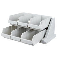 Cambro 6RS6480 Speckled Gray Versa Self Serve Condiment Bin Stand Set with 2-Tier Stand and 12 inch Condiment Bins