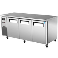 Turbo Air JUR-72 J Series 72 inch Undercounter Refrigerator with Side Mounted Compressor - 19 Cu. Ft.