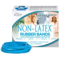 Alliance ALL42649 3 1/2 inch x 1/4 inch Non-Latex Antimicrobial Blue #64 Rubber Band, 1/4 lb. - 95/Box
