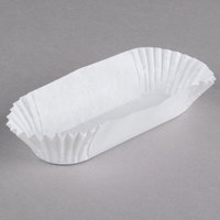 Hoffmaster 610500 4 1/2 inch White Waxed Fluted Eclair Baking Cases - 10000/Case