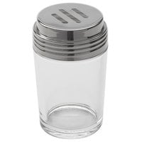 American Metalcraft 4406 6 oz. Clear Glass Contemporary Cheese Shaker with Stainless Steel Top and Extra Large Holes