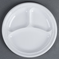 Dart Solo 10CPWF 10 1/4 inch White 3 Compartment Famous Service Impact Plastic Plate 125 / Pack
