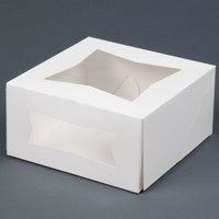 Southern Champion 24053 8 inch x 8 inch x 4 inch White Window Cake / Bakery Box - 10/Pack
