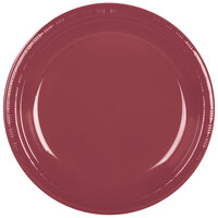 Creative Converting 28312231 10 inch Burgundy Plastic Banquet Plate - 20 / Pack