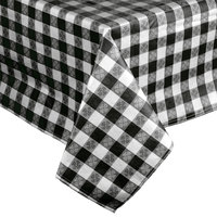 52 inch x 90 inch Black-Checkered Vinyl Table Cover with Flannel Back
