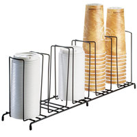 Cal-Mil 1233 Iron Five Section Cup / Lid Organizer - 22 inch x 6 inch x 9 inch