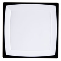 WNA Comet MS10WTUX 9 1/4 inch Square Milan Tuxedo Plastic Salad Plate - 12/Pack