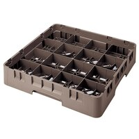 Cambro 16S534167 Camrack 6 1/8 inch High Brown 16 Compartment Glass Rack