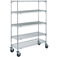 Metro 5A356BC Super Adjustable Chrome 5 Tier Mobile Shelving Unit with Rubber Casters - 18 inch x 48 inch x 69 inch