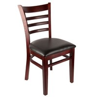 Lancaster Table & Seating Mahogany Finish Wooden Ladder Back Chair with 1 1/2 inch Padded Seat