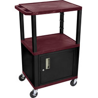 Luxor / H. Wilson WT2642BYC2E-B Burgundy Tuffy Two Shelf Adjustable Height A/V Cart with Locking Cabinet - 18 inch x 24 inch