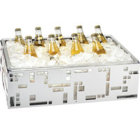 Cal-Mil 1603-12-55 Squared Stainless Steel Ice Housing with Clear Pan - 21 inch x 12 1/2 inch x 6 1/2 inch