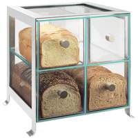 Cal-Mil 1586-74 Soho Four Drawer Silver Steel Bread Case - 14 inch x 13 inch x 14 1/4 inch